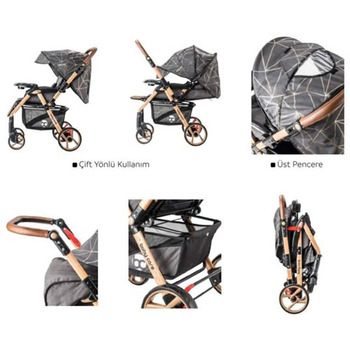 Baby Care Maxı Pro Aliminyum Çift Yönlü Bebek Arabası Gold Siyah