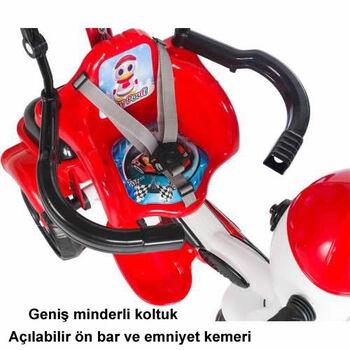 DLV Baby Poufi Penguen Figürlü Ebeveyn Kontrollü Bisiklet Kırmızı