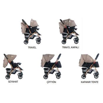 Four Baby AB-460 Active Gold Travel Sistem Bebek Arabası Kahve