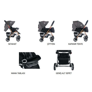 Four Baby AB-310 Active Gold Çift Yönlü Bebek Arabası Gri