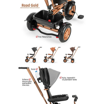 Moje Road Gold Ebeveyn Kontrollü 3 Tekerli Çocuk Bisikleti Kahverengi