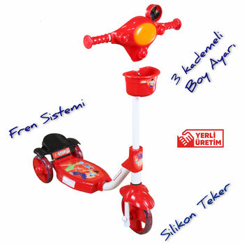 TŞP Silikon 3 Tekerlekli Çocuk Scooter Frenli Sepetli Kırmızı