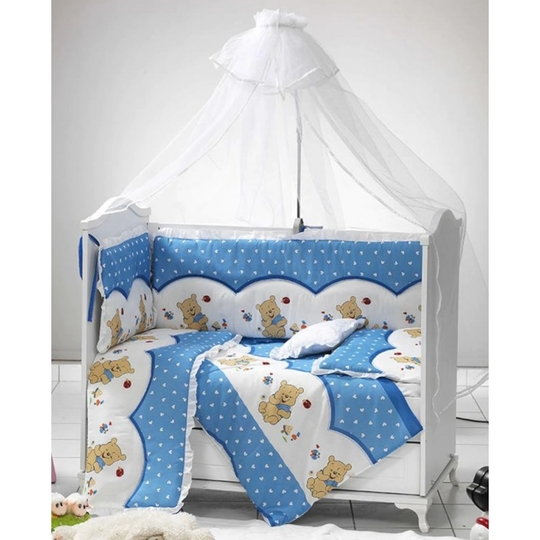 Baby Elf Filiz Panolu Bebek Uyku Seti + Cibinlik (60 x 120 cm) FL608 Mavi