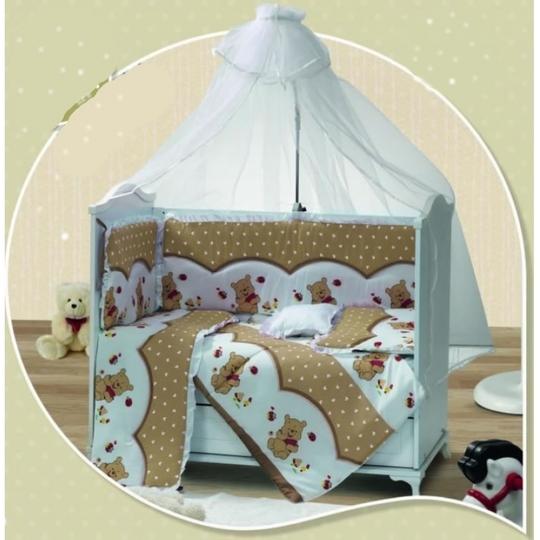 Baby Elf Filiz Panolu Bebek Uyku Seti + Cibinlik (60 x 120 cm) FL607 Kahve
