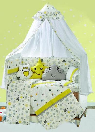 Baby Elf Sara Bebek Uyku Seti + Cibinlik (70 x 130 cm) SR01 Sarı