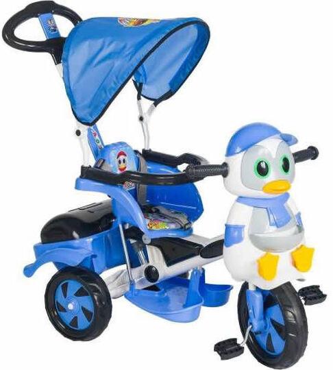 DLV Baby Poufi Penguen Figürlü Ebeveyn Kontrollü Bisiklet Mavi